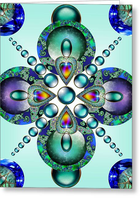 Fractal Orbs Greeting Cards - Kaleidoscope Greeting Card by Ellen Henneke