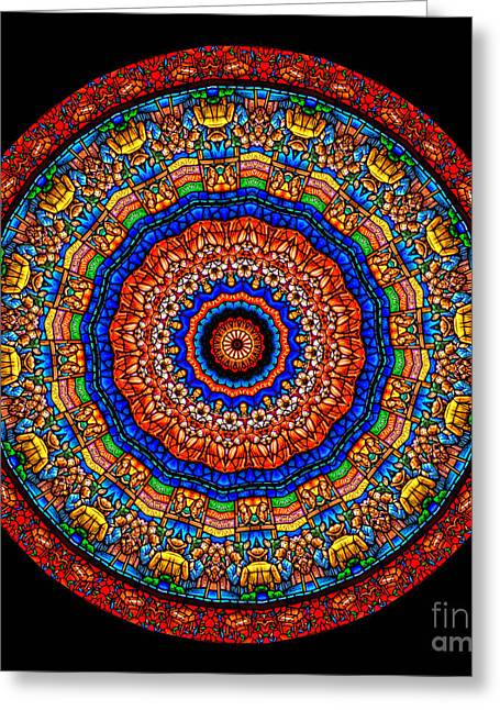 Window Greeting Cards - Kaleidoscope Stained Glass Window Series Greeting Card by Amy Cicconi