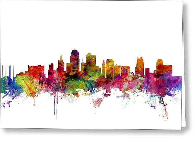 Kansas City Digital Art Greeting Cards - Kansas City Skyline Greeting Card by Michael Tompsett