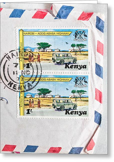 Envelop Greeting Cards - Kenya Stamp Greeting Card by Tom Gowanlock
