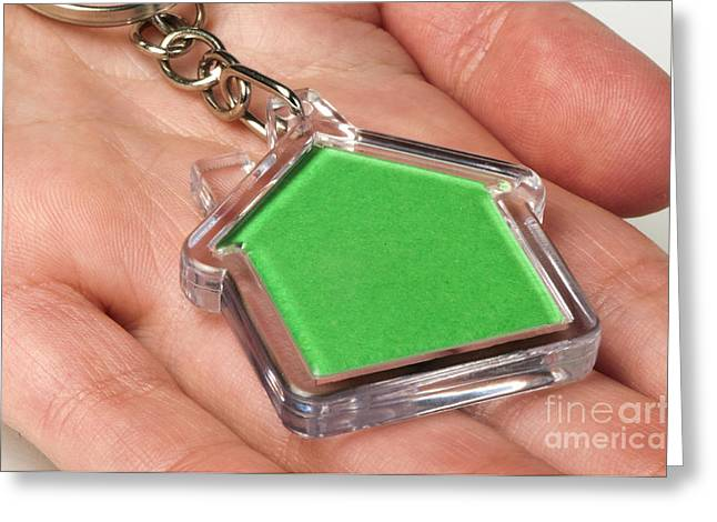 Keychain Greeting Cards - Keychain with figure of green house Greeting Card by Deyan Georgiev