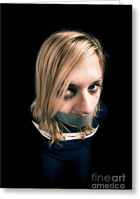 Censorship Photographs Greeting Cards - Kidnapped woman hostage Greeting Card by Jan Mika