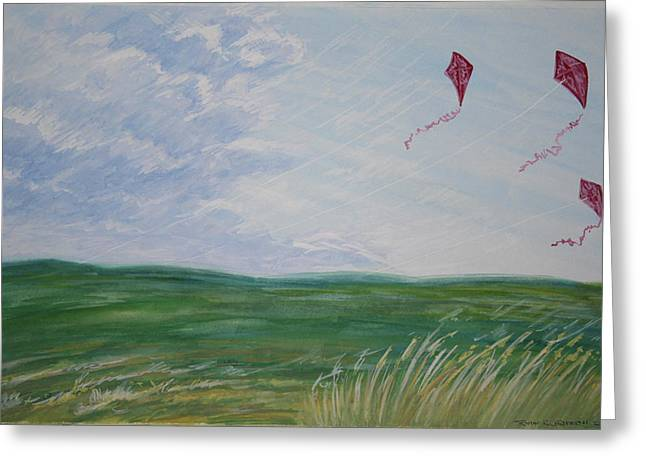 3 Kites 2009 Greeting Card by Thomas Griffith