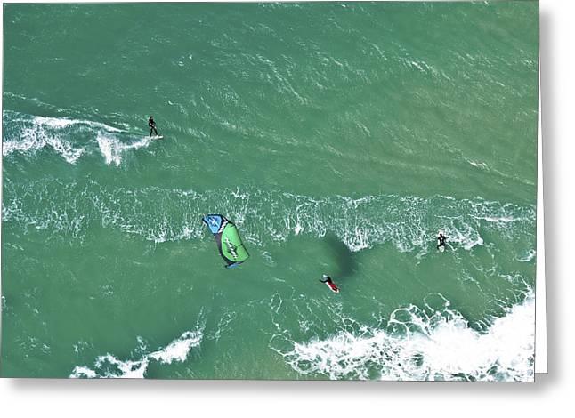 Kite Surfing Greeting Cards - Kitesurfing, Tel Aviv Greeting Card by Ofir Ben Tov