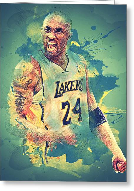 Los Angeles Lakers Greeting Cards - Kobe Bryant Greeting Card by Taylan Soyturk