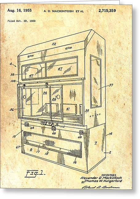 1955 Drawings Greeting Cards - Laboratory Hood Patent 1955 Greeting Card by Mountain Dreams