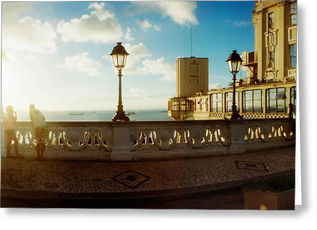 Ocean Panorama Greeting Cards - Lacerda Elevator On The Coast Greeting Card by Panoramic Images