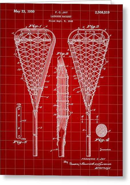 Offense Digital Art Greeting Cards - Lacrosse Stick Patent 1948 - Red Greeting Card by Stephen Younts