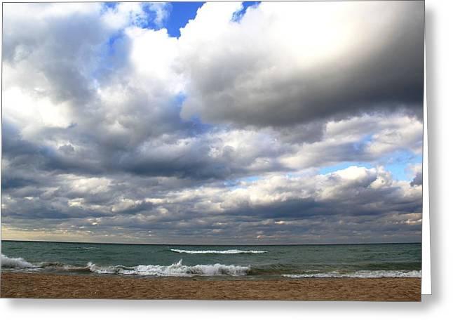 Beach Sand Birds Flying Clouds Sun Sky Trees Grass Building Day Beautiful Wings Flock Greeting Cards - Lake Michigan Beach Shoreline Greeting Card by Paul Szakacs