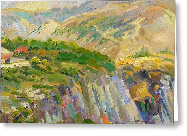 Landscape Painter Greeting Cards - Landscape of mountains and gorge near Garni Armenia Greeting Card by Meruzhan Khachatryan