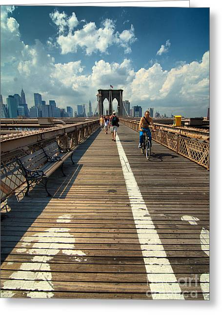 Landmark Greeting Cards - Lanes for pedestrian and bicycle traffic on the Brooklyn Bridge Greeting Card by Amy Cicconi