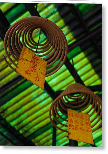 Hong Kong Island Greeting Cards - Large Incense Coils Hanging In Pak Sing Greeting Card by Panoramic Images