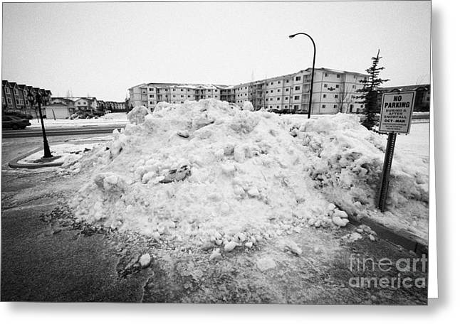 Removed Greeting Cards - large pile of snow for collection cleared from residential streets Saskatoon Saskatchewan Canada Greeting Card by Joe Fox