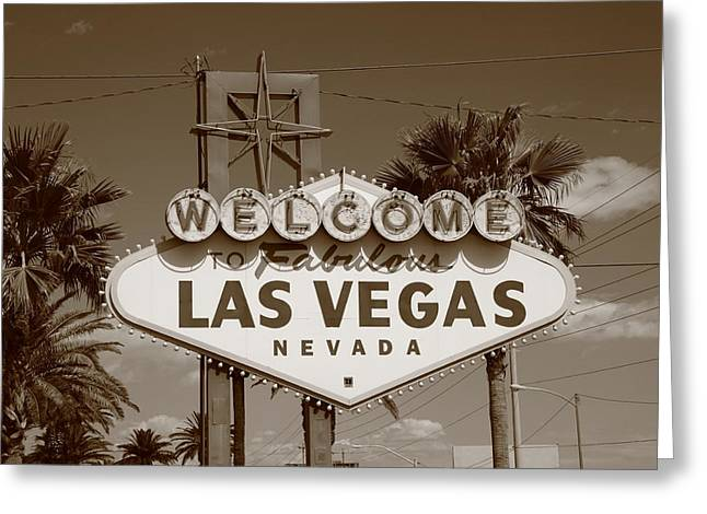 Glitter Gulch Greeting Cards - Las Vegas Greeting Card by Frank Romeo