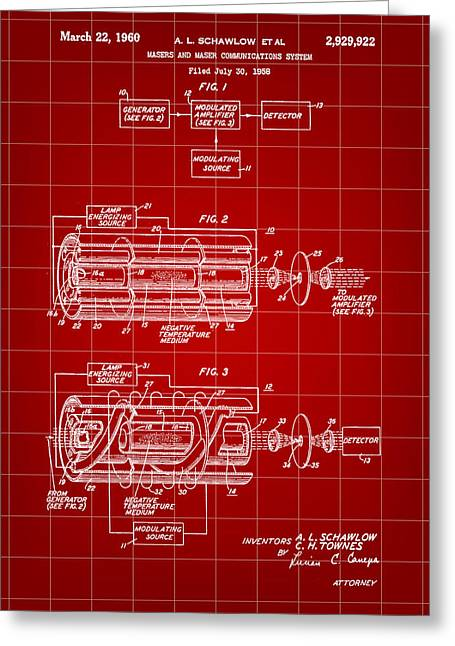 Helium Greeting Cards - Laser Patent 1958 - Red Greeting Card by Stephen Younts