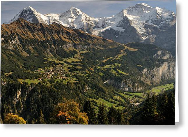 Lauterbrunnen Greeting Cards - Lauterbrunnen Valley With Mt Eiger Greeting Card by Panoramic Images