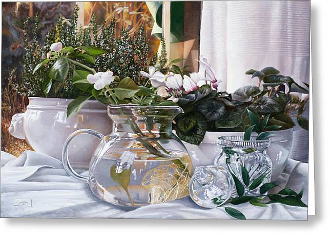Interior Still Life Paintings Greeting Cards - Le Radici Nellacqua Greeting Card by Danka Weitzen