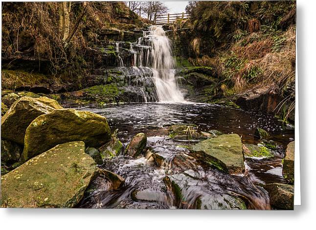 Waterfall Greeting Cards - Lead Mine Clough Waterfall. Greeting Card by Daniel Kay
