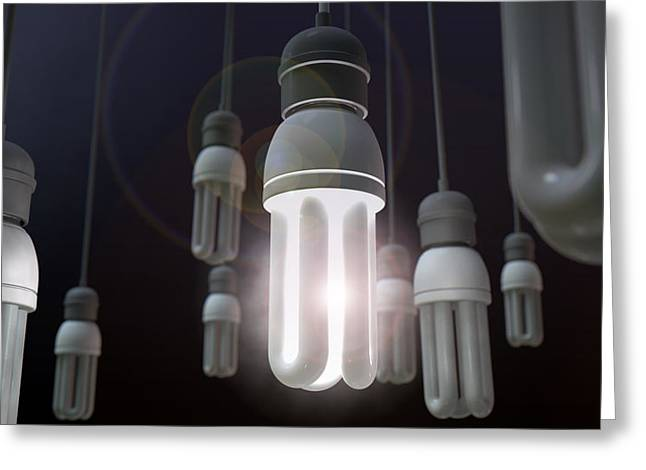Shining Light Greeting Cards - Leadership Hanging Lightbulb Greeting Card by Allan Swart