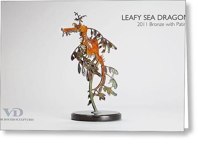 Sea Life Sculptures Greeting Cards - Leafy Sea Dragon Greeting Card by Victor Douieb