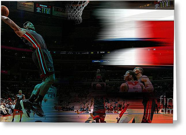 Lebron Mixed Media Greeting Cards - Lebron James Greeting Card by Marvin Blaine
