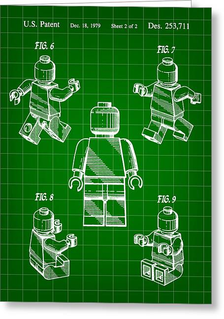 Lego Greeting Cards - Lego Figure Patent 1979 - Green Greeting Card by Stephen Younts