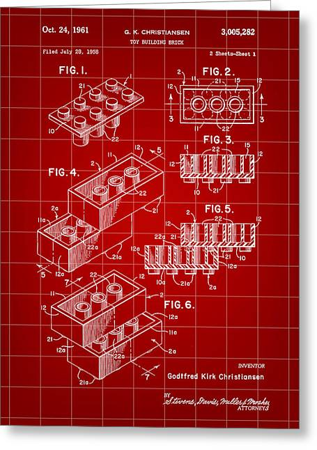 Lego Greeting Cards - Lego Patent 1958 - Red Greeting Card by Stephen Younts