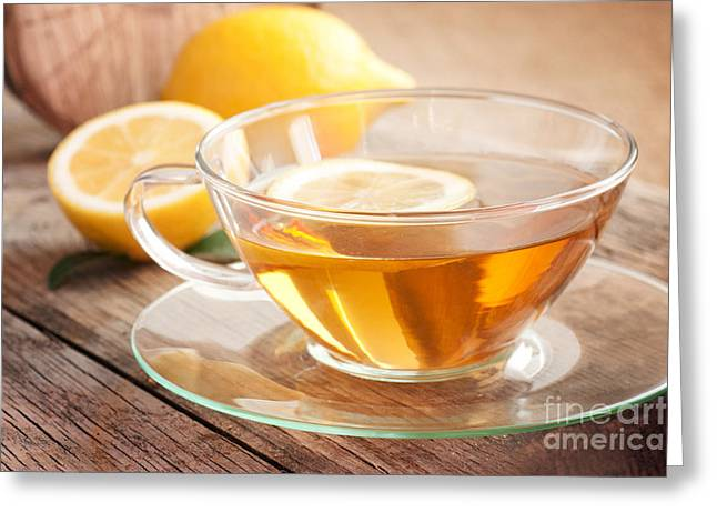 Mythja Greeting Cards - Lemon fruit tea Greeting Card by Mythja  Photography