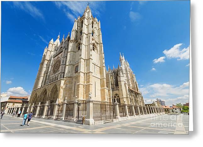 Destinies Cross Greeting Cards - Leon Cathedral Castilla y Leon Spain Greeting Card by David Herraez