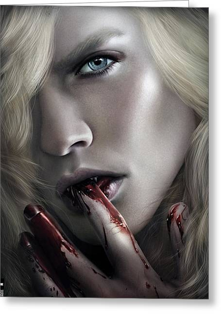 Anne Rice Greeting Cards - Lestat Licks Blood Greeting Card by Omri Koresh