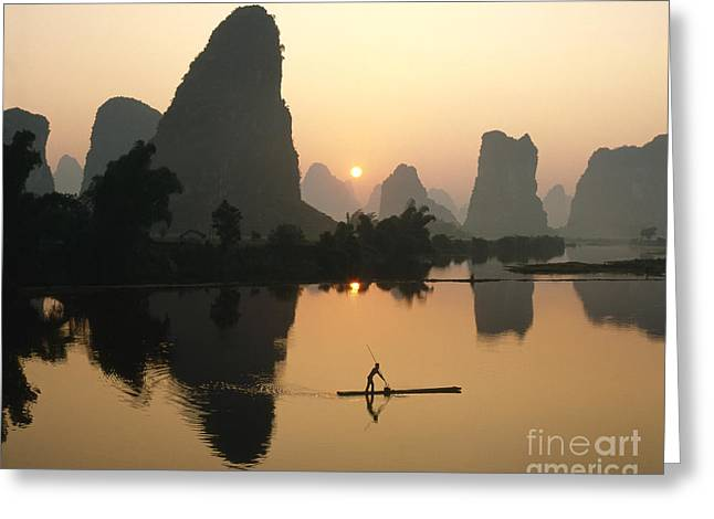 Reflection In Water Greeting Cards - Li River at dawn Greeting Card by King Wu