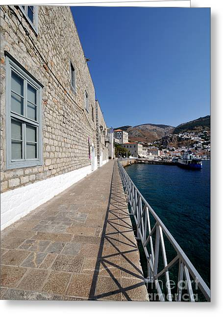 Village Greeting Cards - Light and shadow in Hydra island Greeting Card by George Atsametakis