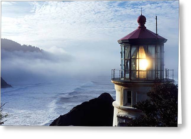 Heceta Greeting Cards - Lighthouse On A Hill, Heceta Head Greeting Card by Panoramic Images