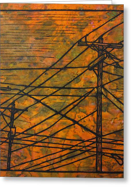Linocut Linoluem Greeting Cards - Lines Greeting Card by William Cauthern