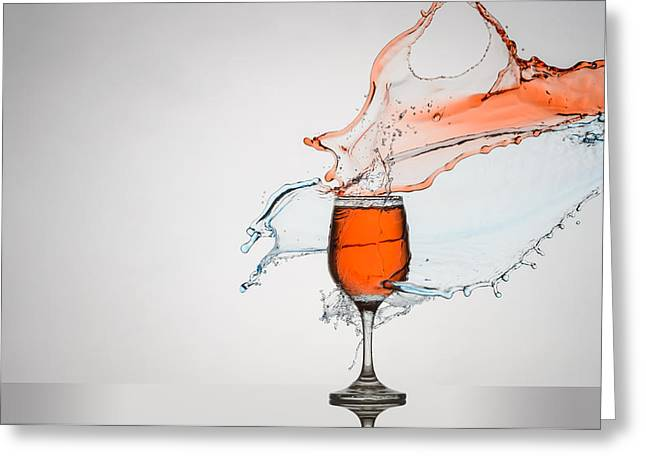 Red Wine Splash Greeting Cards - Liquid Splash Wine Glass Greeting Card by Andy Astbury
