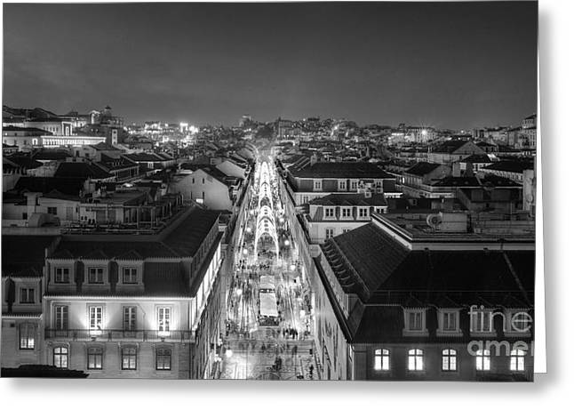 Black Top Greeting Cards - Lisbon Downtown Greeting Card by Carlos Caetano