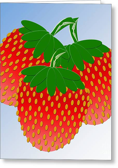 Strawberry Art Greeting Cards - 3 Little Berries Are We Greeting Card by Andee Design