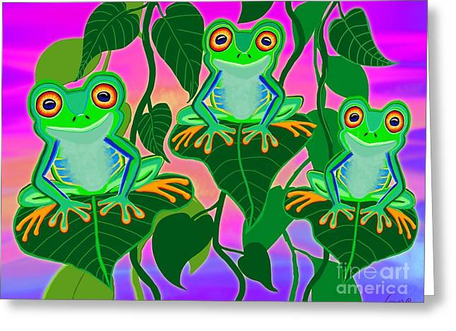 Tree Frog Greeting Cards - 3 Little Frogs On Leafs Greeting Card by Nick Gustafson