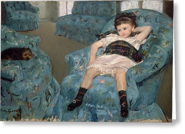 African-american Paintings Greeting Cards - Little Girl In A Blue Armchair Greeting Card by Mary Cassatt
