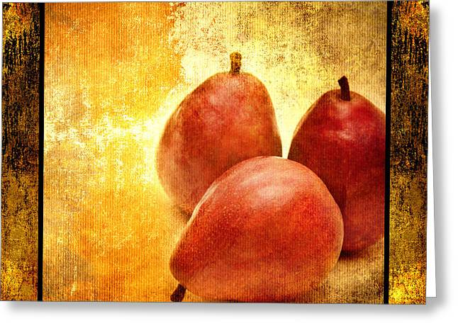 Pear Mixed Media Greeting Cards - 3 Little Red Pears Are We 2 Greeting Card by Andee Design