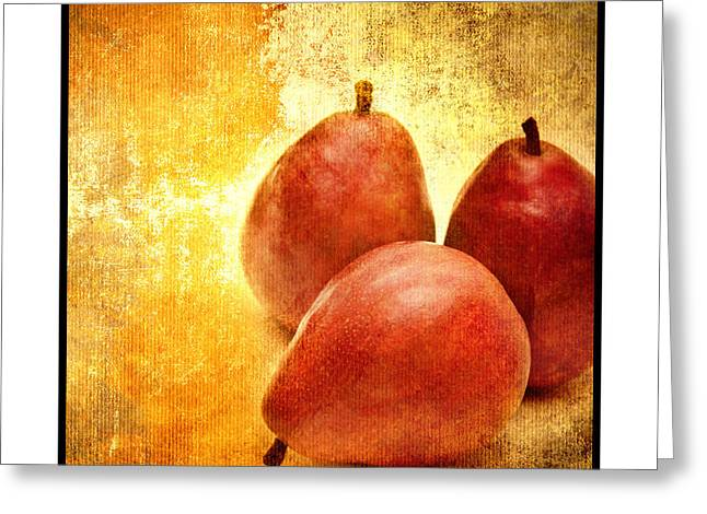 Pear Mixed Media Greeting Cards - 3 Little Red Pears Are We 3 Greeting Card by Andee Design