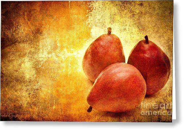 Pear Mixed Media Greeting Cards - 3 Little Red Pears Are We Greeting Card by Andee Design