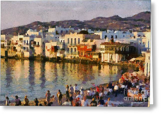 Sundown Framed Prints Greeting Cards - Little Venice in Mykonos island Greeting Card by George Atsametakis