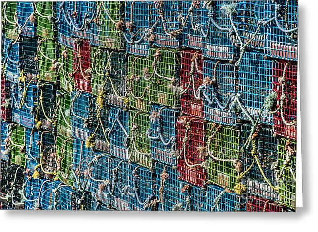 Lobster Pot Greeting Cards - Lobster Traps Greeting Card by John Greim