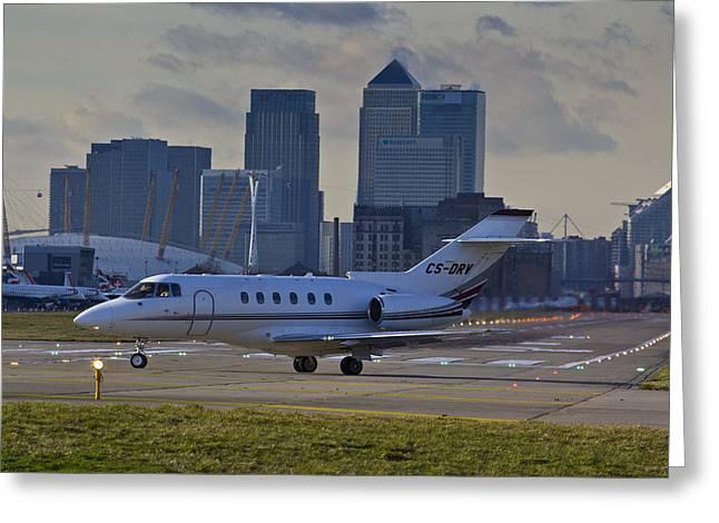 Private Jet Greeting Cards - London city Airport Greeting Card by David Pyatt