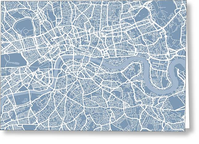 Capital Digital Art Greeting Cards - London England Street Map Greeting Card by Michael Tompsett