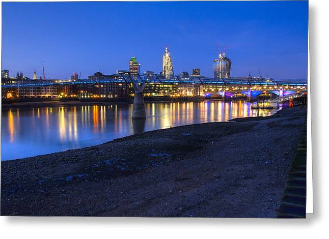 Chelsea Greeting Cards - London Thames Bridges Greeting Card by David French
