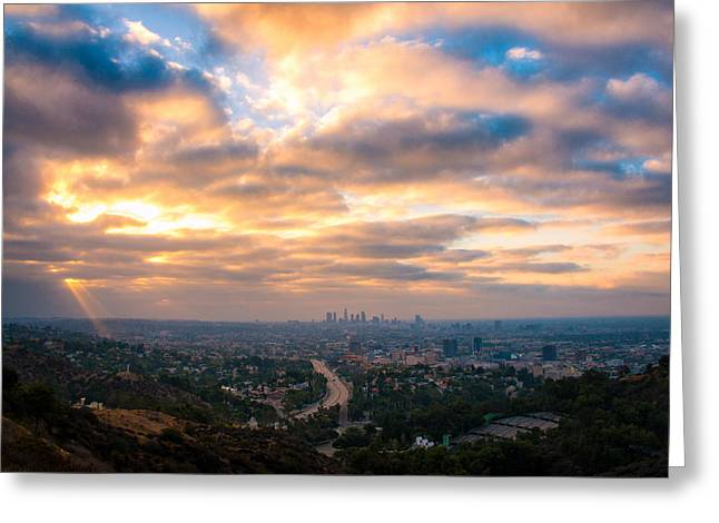 Hollywood Bowl Greeting Cards - Los Angeles from the Hollywood Bowl Overlook Greeting Card by Celso Diniz