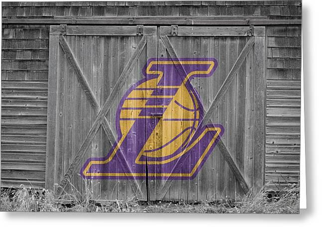 3 Pointer Greeting Cards - Los Angeles Lakers Greeting Card by Joe Hamilton