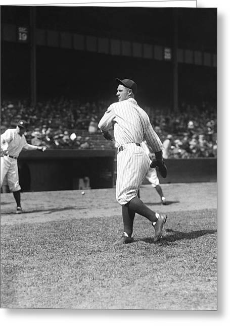 Baseball Players - Greeting Cards - Lou Gehrig Yankees Greeting Card by Retro Images Archive